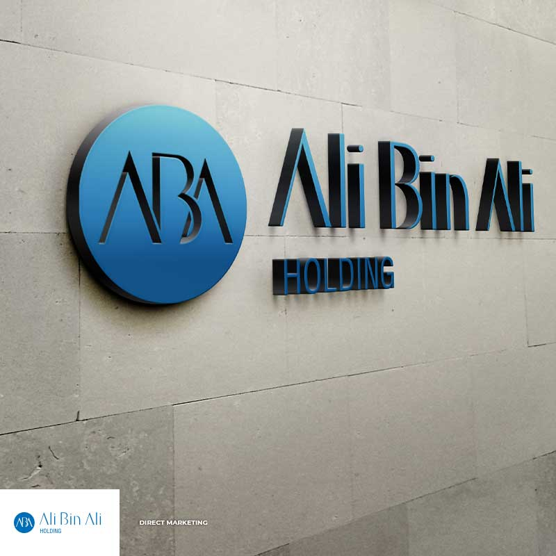 ali bin ali holding logo on a wall