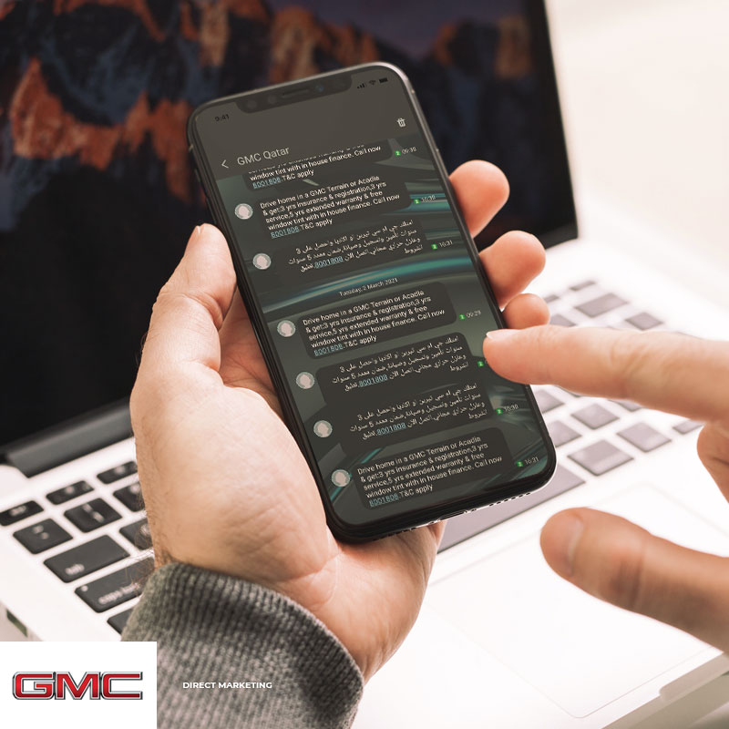 a person checking GMC messages