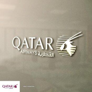 qatar airways logo on a wall