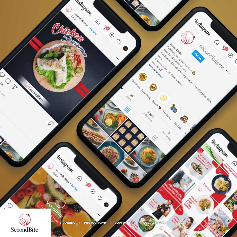 multiple mobiles with instagram screens of secondbite qatar